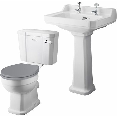 Bayswater Fitzroy 595mm Cloakroom Suite Toilet Basin Sink Full Pedestal White