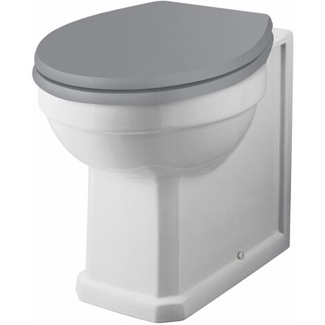 Bayswater Fitzroy Back to Wall Toilet Soft Close Seat Grey Modern Round Pan WC