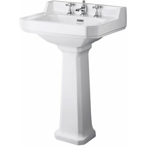 Bayswater Fitzroy Basin with Full Pedestal 595mm Wide 3 Tap Hole
