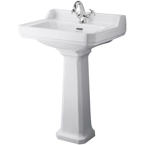 Bayswater Fitzroy Basin with Large Full Pedestal 595mm Wide 1 Tap Hole
