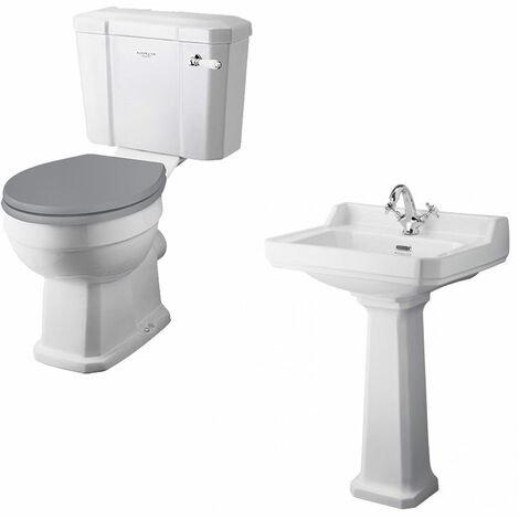 Bayswater Fitzroy Traditional Bathroom Suite Close Coupled Toilet and Basin - 1 Tap Hole