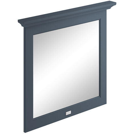 Bayswater Flat Bathroom Mirror 800mm Wide - Stiffkey Blue
