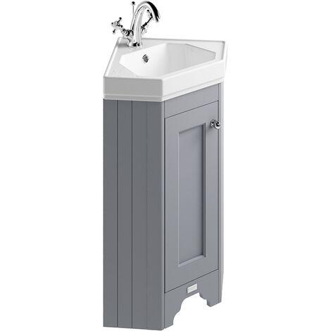 Bayswater Floor Standing 1-Door Vanity Unit with Basin 600mm Wide - Plummett Grey
