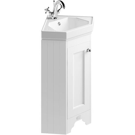 Bayswater Floor Standing 1-Door Vanity Unit with Basin 600mm Wide - Pointing White
