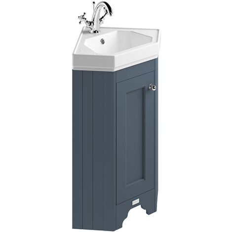 Bayswater Floor Standing 1-Door Vanity Unit with Basin 600mm Wide - Stiffkey Blue
