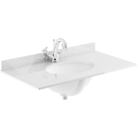 Bayswater Grey Marble Top Furniture Basin 600mm Wide 1 Tap Hole