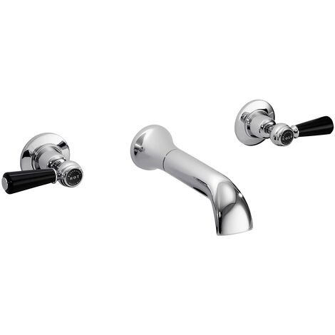 Bayswater Lever Hex 3-Hole Wall Mounted Bath Filler Tap Black/Chrome