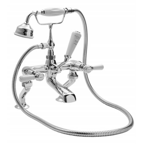 Bayswater Lever Hex Deck Mounted Bath Shower Mixer Tap White/Chrome