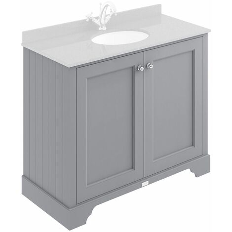 Bayswater Plummett Grey 1000mm 2 Door Traditional Vanity Unit - UNIT ONLY