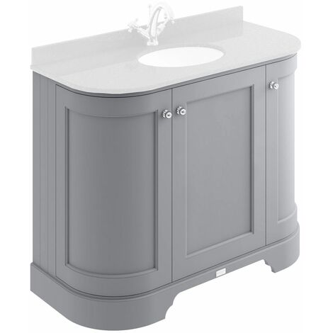 Bayswater Plummett Grey 1000mm Curved 3 Door Traditional Vanity Unit - UNIT ONLY