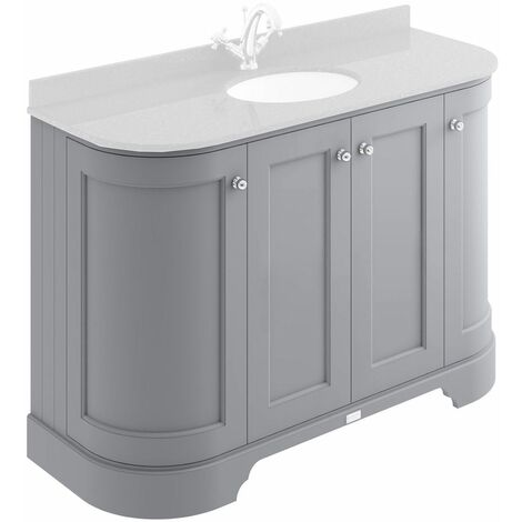 Bayswater Plummett Grey 1200mm Curved 4 Door Traditional Vanity Unit - UNIT ONLY