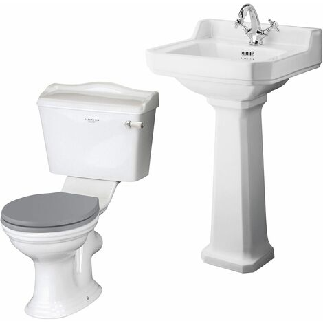 Bayswater Porchester 500mm Cloakroom Suite Toilet Basin Sink Full Pedestal White