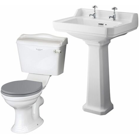 Bayswater Porchester 595mm Cloakroom Suite Toilet Basin Sink Full Pedestal White