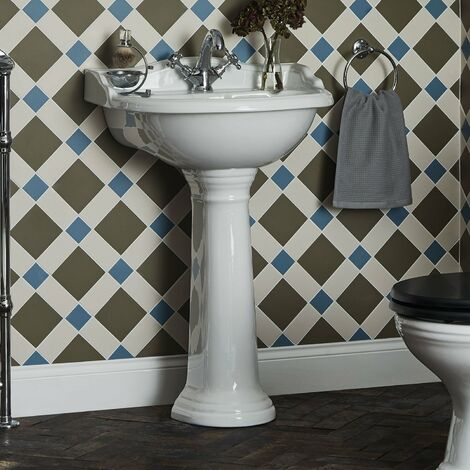 Bayswater Porchester Basin with Full Pedestal 500mm Wide 1 Tap Hole