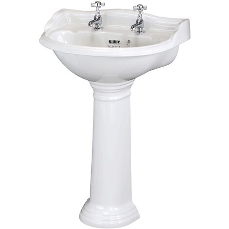 Bayswater Porchester Basin with Full Pedestal 600mm Wide 2 Tap Hole