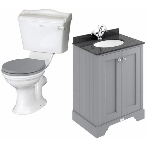 Bayswater Porchester Toilet & 600mm Traditional Vanity Unit WC Soft Close Seat