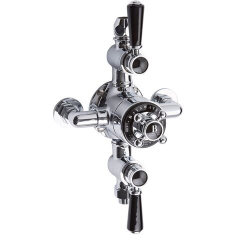 Bayswater Traditional Triple Exposed Shower Valve Black/Chrome