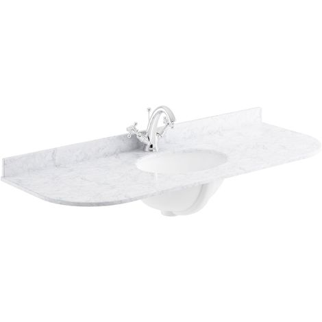 Bayswater White Marble Top Curved Furniture Basin 1200mm Wide 1 Tap Hole