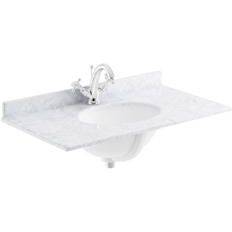 Bayswater White Marble Top Furniture Basin 800mm Wide 1 Tap Hole
