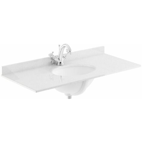 Bayswater White Single Bowl Countertop 1000mm 1 Tap Hole Undermount