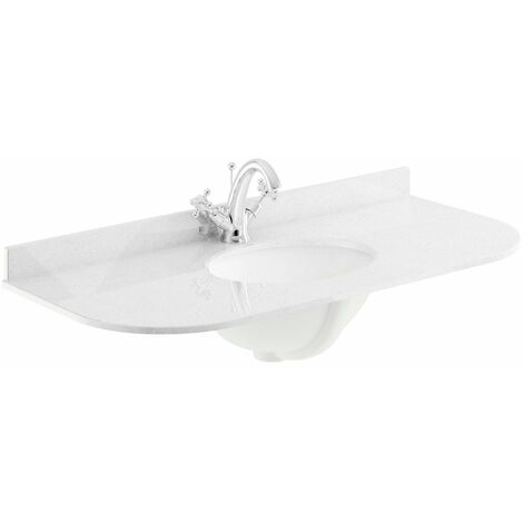 Bayswater White Single Bowl Countertop 1000mm 1 Tap Hole Undermount Curved