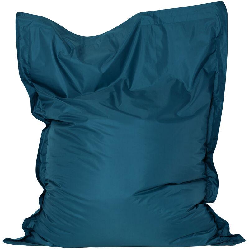 Bazaar Bag Coussin de Sol Pour Pouf Géant - Vert Sarcelle, 180cm x 140cm, Textile Tissé, Résistant à l'eau, Poufs d'intérieur et d'extérieur - Bleu