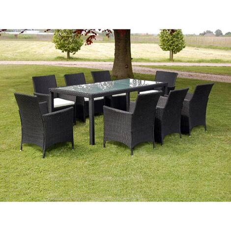 Bazemore 8 Seater Dining Set with Cushions by Dakota Fields - Black