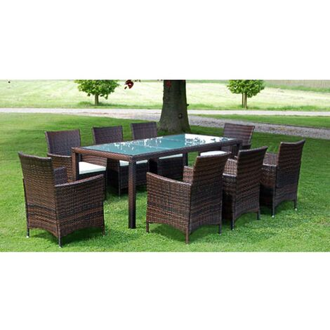 Bazemore 8 Seater Dining Set with Cushions by Dakota Fields - Brown