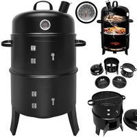 BBQ Barbecue Smoker Round Smoking and Grilling with Thermometer Barrel Meat Smoking
