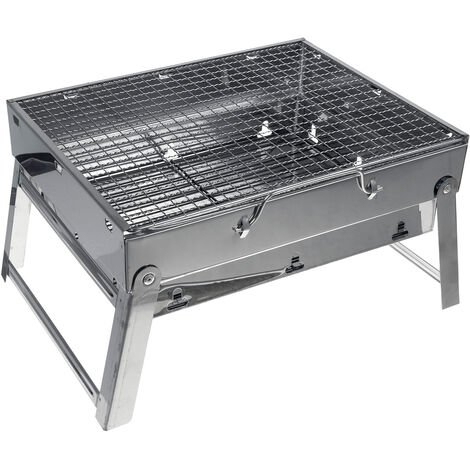 BBQ Barbecue Stove Stainless Steel Grill Portable Charcoal Camping Cooker Accessories 35*27*20cm