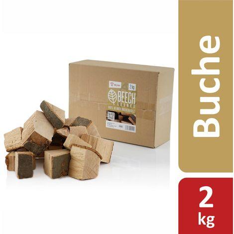 BBQ-Bulbe Morceaux de hêtre aromatiques (2 kg) Morceaux de bois pour fumer