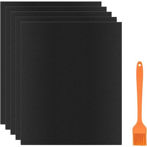 BBQ Carpet BBQ Cook Mat 400 * 330mm 5 Pieces + Silicone Brush