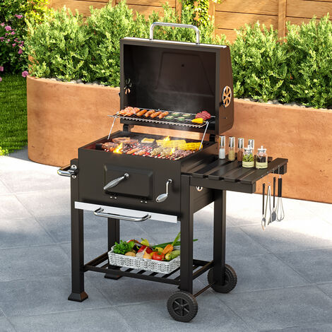 BBQ charcoal grill cart, barbecue, charcoal bbq - black