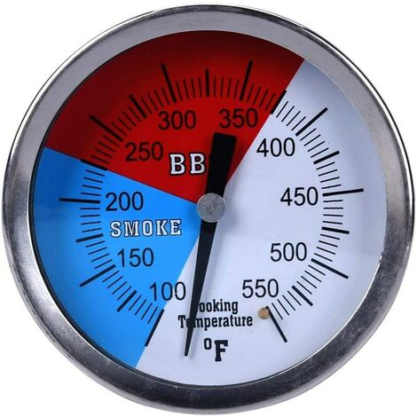 """main image of """"BBQ Charcoal Grill Pit Wood Smoker Temp Gauge Grill Thermometer with 3"""" Stem Stainless Steel RWB"""""""