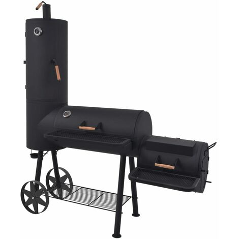 BBQ Charcoal Smoker with Bottom Shelf Black Heavy XXL