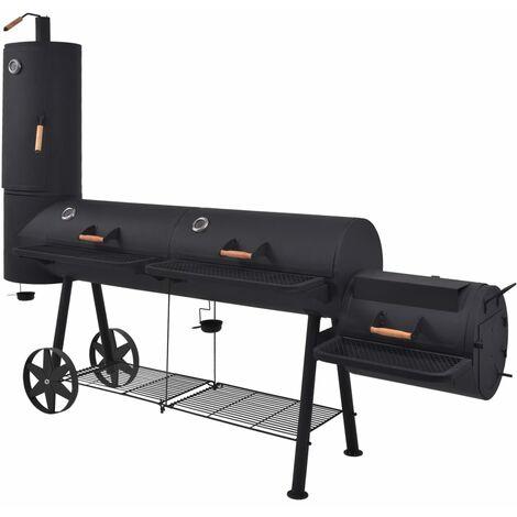 BBQ Charcoal Smoker with Bottom Shelf Black Heavy XXL