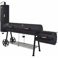 BBQ Charcoal Smoker with Bottom Shelf Black Heavy XXXL