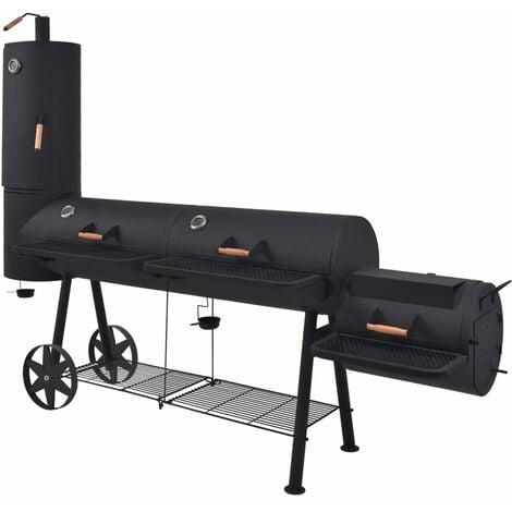 BBQ Charcoal Smoker with Bottom Shelf Black Heavy XXXL - Black