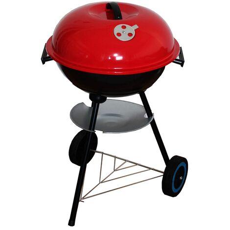 BBQ Clasica Barbacoa de Carbón con tapa lacado rojo y trípode con Ruedas (58x42x70 cm)
