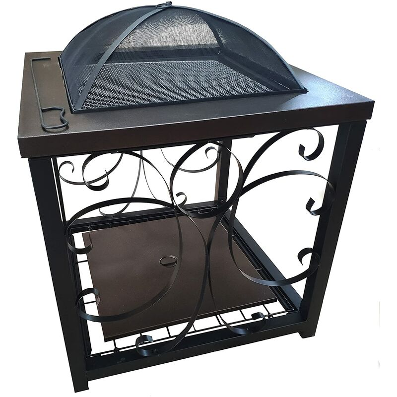 BBQ Fire Pit, Large Steel Square Black with Bronze Effect Table Fire Pit / BBQ Black Outdoor Garden Log Burner Wood Burner Patio Heater Brazier with