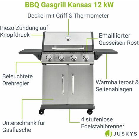 BBQ Gas-Grill Kansas | 4 Edelstahl-Brenner | Gusseisen-Grillrost, Thermometer, Warmhalterost & Fettauffangbehälter | Grillwagen Griller | Broilcue