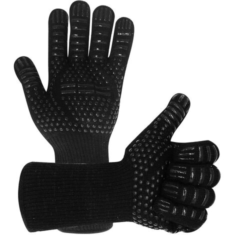 """main image of """"BBQ Gloves 800°C Heat Resistant Grill Gloves Fireproof Barbecue Grilling Potholders Silicone Non-Slip Barbeque Gloves for BBQ, Cooking, Baking, Grilling, Welding (Black)"""""""