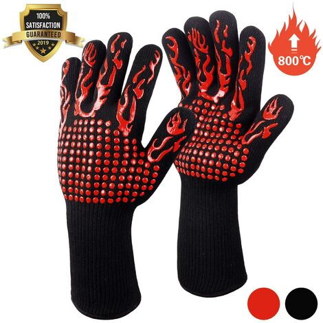 """main image of """"BBQ Gloves, Oven Gloves, Non-Slip Silicone Oven Gloves Anti-Heat Up to 800 ° C EN407 Certified, Silicone BBQ Gloves for Baking and Baking Welding (Red)"""""""