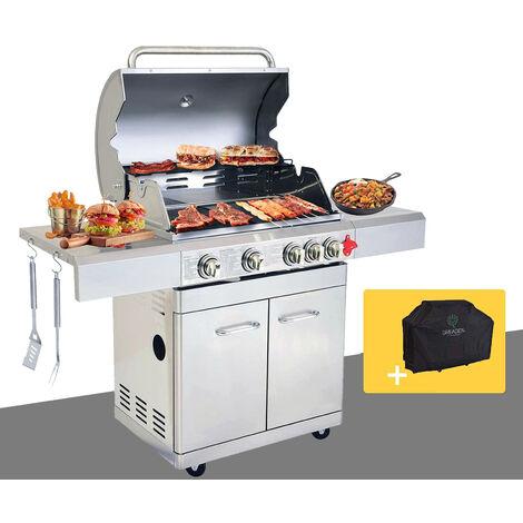 BBQ Grill Barbecue À Gaz INOX PHÉNIX - 4 BRÛLEURS+1 FEU LATÉRAL et Thermomètre, Puissance Totale 17.5KW, Grille/plancha offerts + Housse