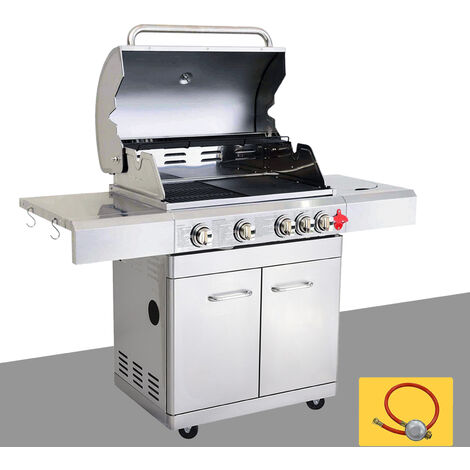 BBQ Grill Barbecue À Gaz INOX PHÉNIX - 4 BRÛLEURS+1 FEU LATÉRAL et Thermomètre, Puissance Totale 17.5KW, Grille/plancha offerts + kit Flexible