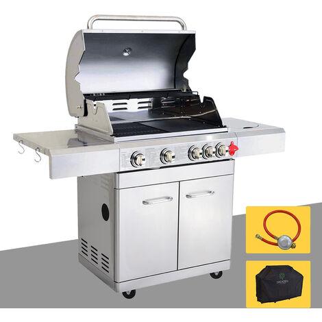 Bbq Grill Barbecue à Gaz Inox Phénix 4 Brûleurs1 Feu Latéral Et Thermomètre Puissance Totale 175kw Grilleplancha Offerts Kit Flexiblehousse