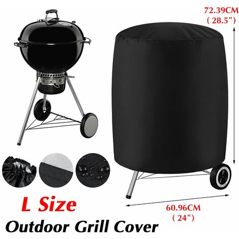 BBQ Grill Cover Round Waterproof BBQ Smoker Cover for Outdoor Patio (Black, L (24 & quot; x 28.5 & quot;))