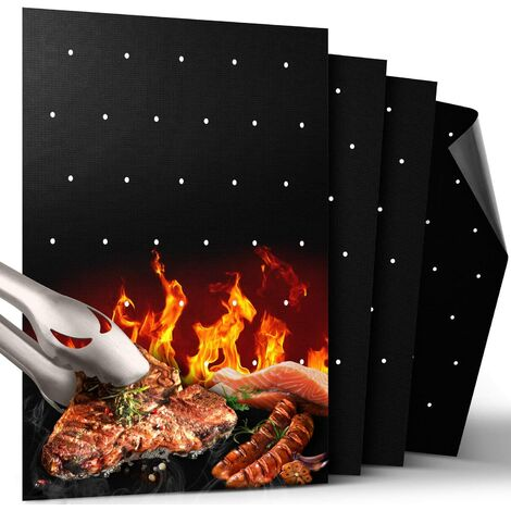 """main image of """"BBQ Grill Mat, Non Stick BBQ Mat with Holes Heavy Duty 500 ℉ Grill & Baking Mats (Set of 4), Easy Clean & Use BBQ Accessories, Reusable on Gas Charcoal Electric Grills"""""""