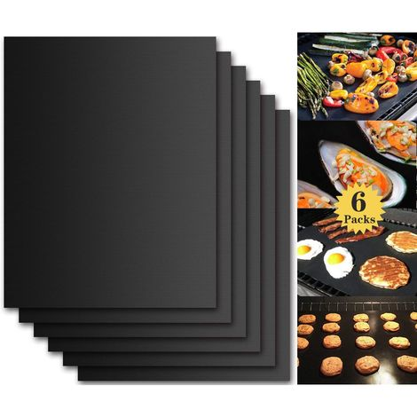 BBQ Grill Mat, Set of 6 Non Stick BBQ Baking Mats Reusable for Charcoal, Gas or Electric Grill - Easy to Clean, Heat Resistant Barbecue Sheets