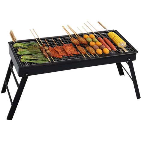 BBQ Grill Portable Folding Charcoal Barbecue Desk Tabletop Outdoor Stainless Steel